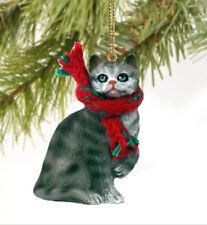 Silver Grey Persian Cat Photo Slate Christmas Gift Ornament AC-38SL