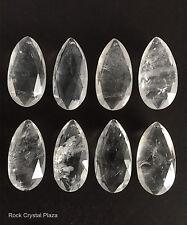 Rock Crystal Quartz Chandelier Pendants Parts Prisms Full Cut Almond 65mm 8pc
