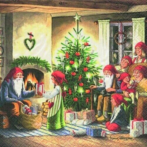 """4 SERVIETTES /""""Nains famille/"""" 33x33 DES NAPPES NOËL cadeaux cheminée"""