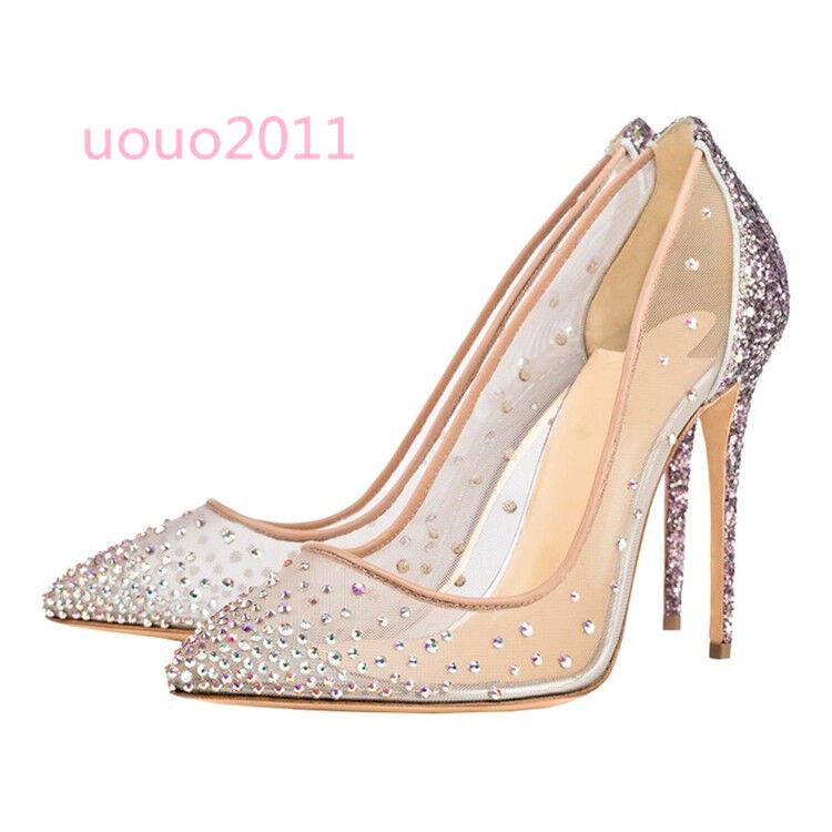 vendita all'ingrosso donna donna donna Mesh Pointed Toe Rhinestones Shining Sequins Slim High Heel Wedding scarpe  prezzi bassi