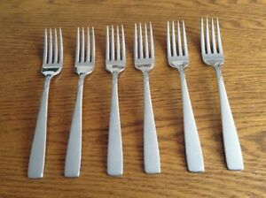Oneida-stainless-Deluxe-Oneidacraft-accent-lot-of-6-dinner-forks-NM-polished