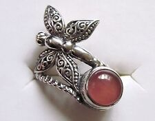 Rhodochrosite & Butterfly Bypass Ring in Sterling Silver, size 5 --- 1.6 cts