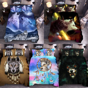 Dream-Catcher-Wolf-Duvet-Cover-Set-Animal-Print-Bedding-Sets-Twin-Queen-King