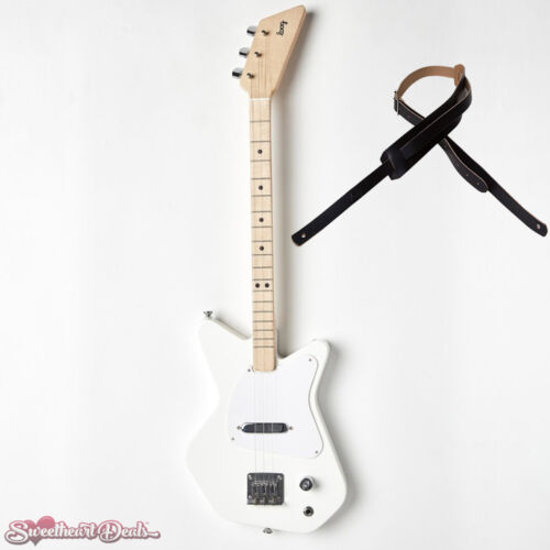 Loog Pro Electric White 3-Stringed Solidbody Guitar with Strap