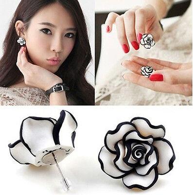 Fashion Cute Ladies Grils Simple Black & White Rose Flower Stud Earrings U