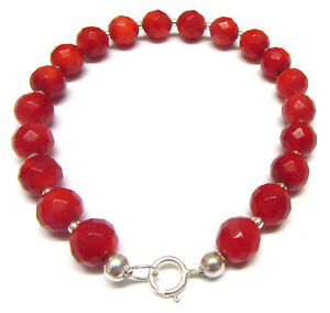 Red-Coral-Bracelet-Sterling-Silver-Bracelet-Semi-precious-Beads-7-5-or-8-Inch