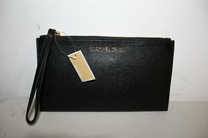NWT-MICHAEL-KORS-LARGE-ZIP-CLUTCH-WRISTLET-BAG-BLACK-LEATHER-WALLET-PURSE