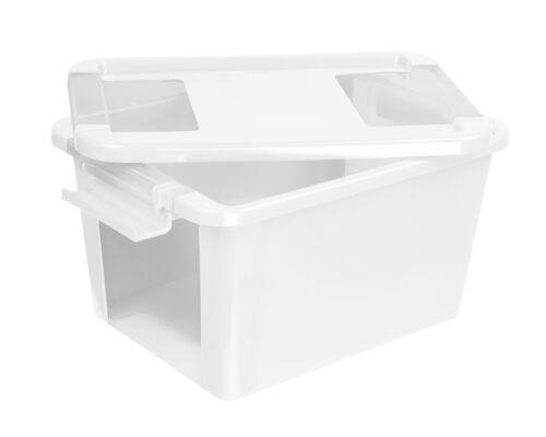 Aufbewahrungsbox Deckel Sammelbox Stapelbox Sichtbox Klipp Lagerbox BOX S weiß