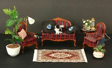 Red and Black Loveseat and 2 Chairs Living Room Set Doll House Furniture Rug Dog