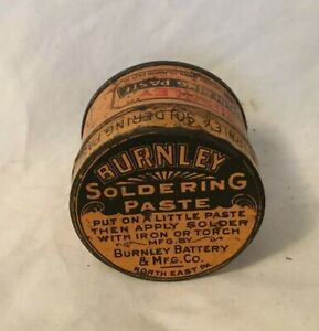 Vintage-Advertising-Tin-BURNLEY-SOLDERING-PASTE-North-East-Pennsylvania
