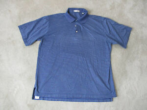 Peter-Millar-Golf-Polo-Shirt-Adult-Large-Blue-Striped-Golfer-Rugby-Casual-Mens
