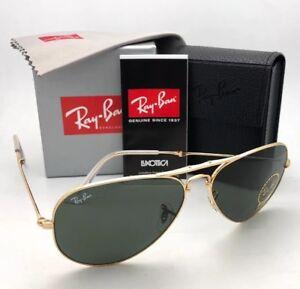 f117d30b8e RAY-BAN Folding AVIATOR Sunglasses RB 3479 001 58-14 Gold Frames G ...