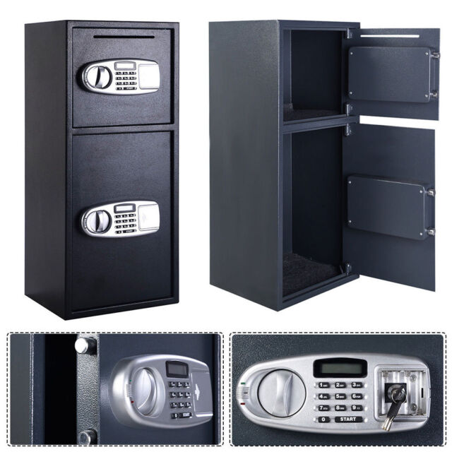 Large Digital Electronic Steel Safe Black Box Double-deck Home Office Security