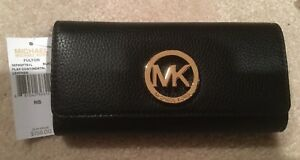 962be48fc598 NWT Michael Kors Fulton Carry All Flap Black Leather Gold MK Wallet ...