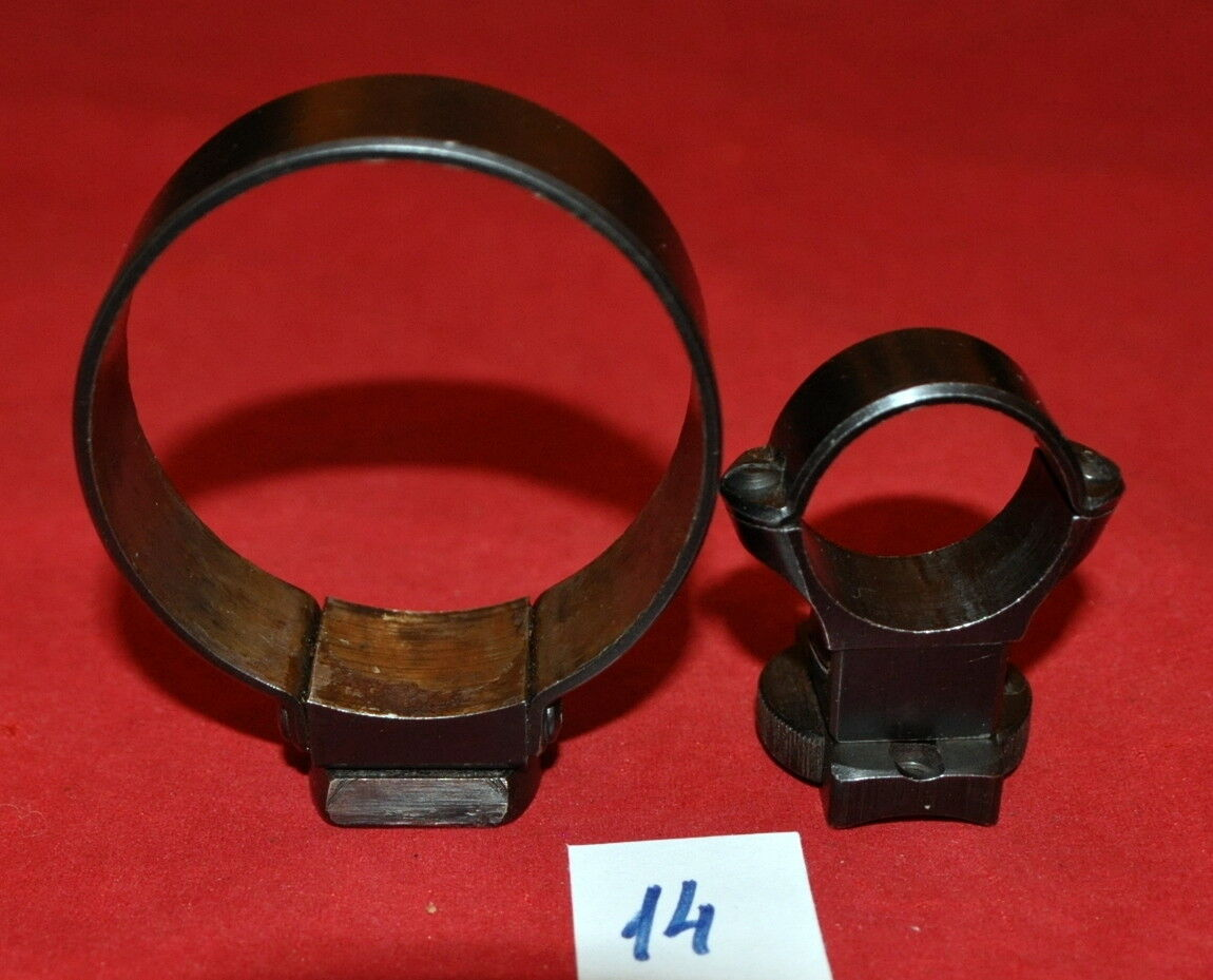 German Suhler ring claw mounts set(D.56 25.5mm) w bases, rifle w round top