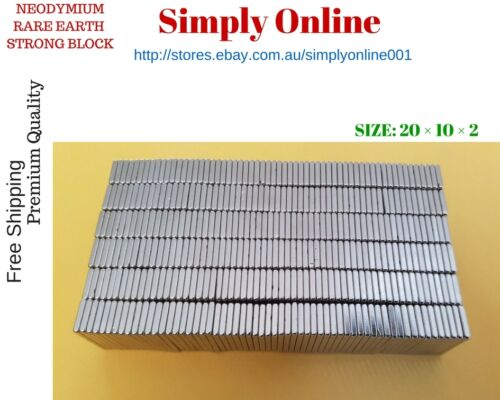 200 Pcs Neodymium Rare Earth Magnets Strong Block Cuboid Fridge 20x10x2mm