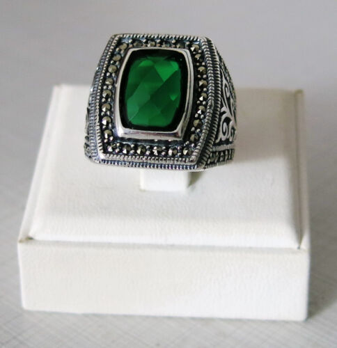 Details about  /Handmade 925 Sterling Silver Green Zircon /& Marcasite Stone Men/'s RING #C169