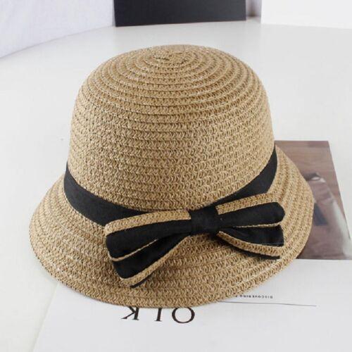 Children Girls Bowknot Lovely Straw Hat Summer Beach Caps Toddler Summer Sun Cap
