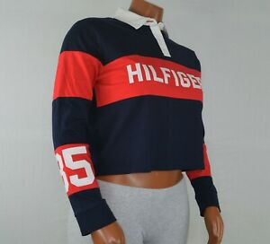 NWT-Tommy-Hilfiger-Denim-Women-039-s-Cropped-Rugby-Top-Shirt-Blouse-Long-Sleeve