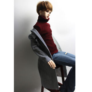 Fashion Casual Gray Elastic Turtleneck Sweater Knitwear for 1//3 BJD SD Male