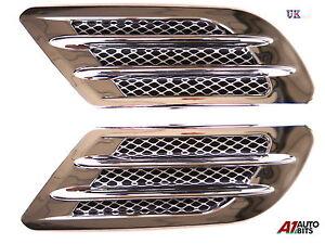 2x-Chrom-Flugel-Luft-Luftungsschlitz-Rand-Ansaug-Fender-Abdeckung-Leitung-Flow