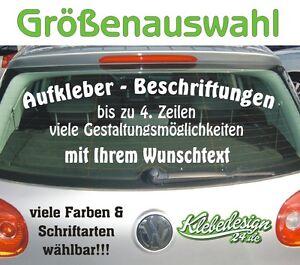 4 Zeilen Aufkleber Beschriftung Größenauswahl Sticker Heckscheibe LKW Auto KfZ