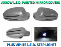Usa 03-09 W209 Clk Arrow Led Side Painted Silver Mirror Cover + Led Step Light