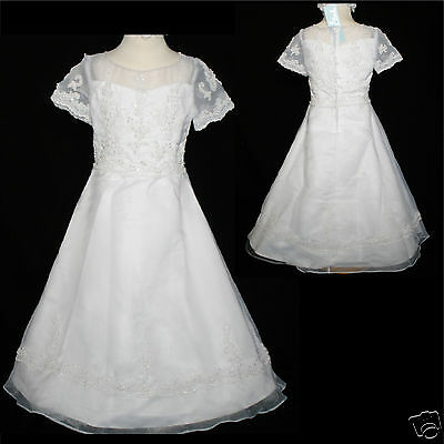 New Girl Party Formal Christening First Communion Dress Size 6 7 8 White Dress