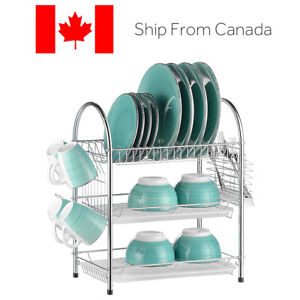 Stainless Dish Drying Rack 3-Tier Plate Bowl Organizer Cup Holder 2 Drainboards