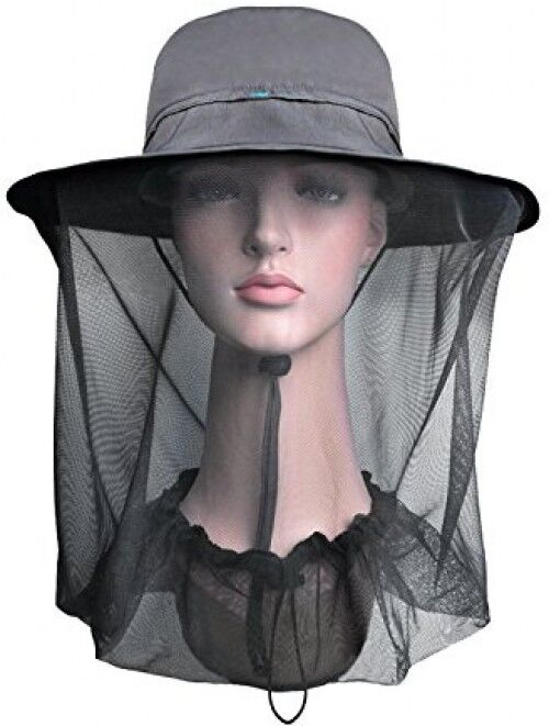 Lenikis Outdoor Sun Predection Hats With Mosquito Head Net Grey