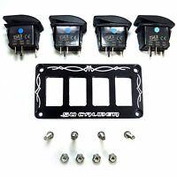 Billet Black Rocker Switch Dash Panel Plate Bezel Kit Universal With 4 Switches