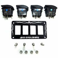 Billet Black Rocker Switch Dash Panel Plate Bezel Kit Universal With 4 Switches