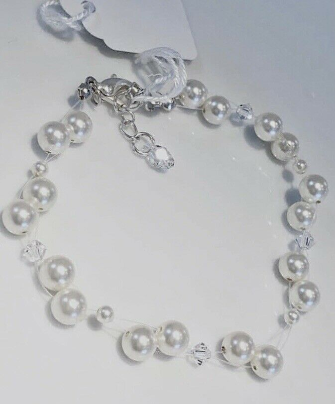 Pearl & Crystal Floating Illusion Bracelet - Wedding Swarovski Elements