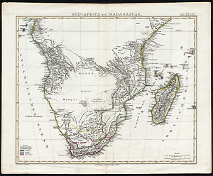 Map Of Africa 1850.Antique Map Southern Africa Madagascar Stieler 1850 Ebay