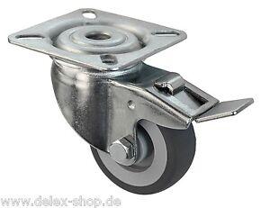 50 mm transportrollen lenkrollen m 246 belrollen tk 50 kg gummi spurlos bremse rolle ebay