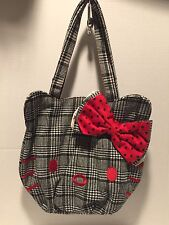 Hello Kitty Houndstooth Handbag Purse Big Bows And Kitty Face Embroidered**NWT**