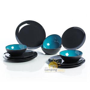 gimex melamingeschirr set grey color line melamin geschirr 12 tlg t rkis ebay. Black Bedroom Furniture Sets. Home Design Ideas