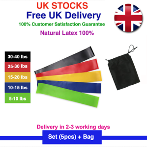 5 PCS Resistance Bands Exercise Sports Loop Fitness Home Gym Yoga Latex Set UK