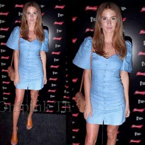 ZARA SS18 short bleu robe avec manches bouffantes Taille XS /_ M /_ L REF.4437//078