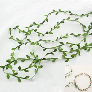Flowers-Rattan-DIY-Wreath-Craft-Green-Foliage-Silk-Leaves-Leaf-Shaped-Ribbon