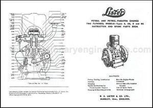 lister a b stationary engine instruction parts book lister a rh ebay co uk