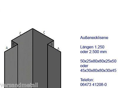 Edelstahl Verbindungsprofil Außeneck Lisene 1.4301 außen Schliff K320 rostfrei