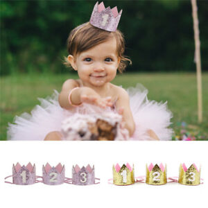 Handmade Glitter Baby Boy Girl 1st Birthday Crown Party Hat Headband Decoration