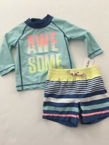 b89f470c28 Carters Boy Long Sleeve Rash Guard Trunks Swimsuit Set Size 6 Months ...