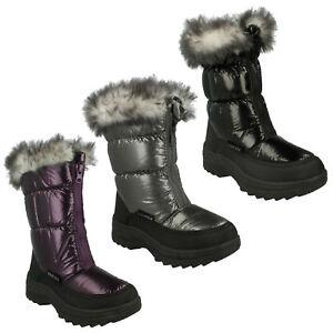 Reflex-Nina-Invierno-Forrado-Piel-Caliente-Frontal-Zip-Casuales-Botas-de-Nieve