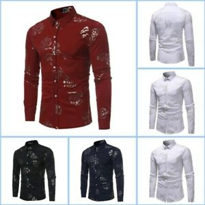 Casual-Long-Sleeve-Floral-Luxury-Dress-Shirts-Top-Stylish-Slim-Fit-Shirt-Mens