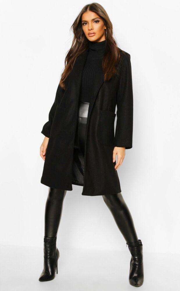 * Nouveau * Boohoo Poche Détail Laine Look Manteau Noir Taille 12 Rrp £ 45