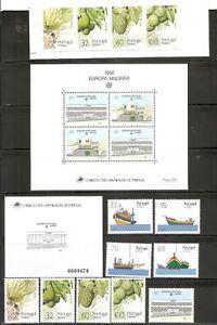 Portugal-Madeira-SC-137-142-142b-143-146-Europa-Boats-tropical-Fruits-MNH