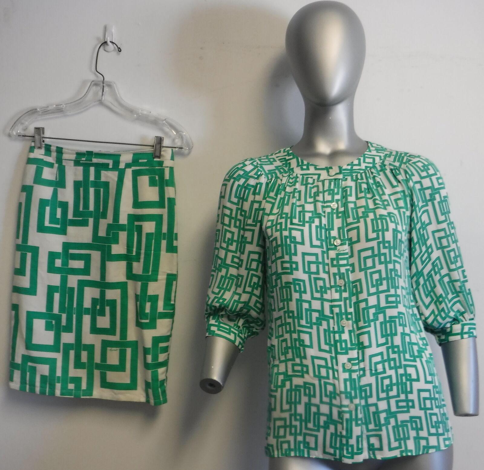 MILLY NEW YORK Silk Linen Green White Blouse & skirt with Geometric Print SZ 0 2