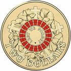Australian Two Dollar $2 coin - 2015 - ANZAC RED Remembrance Lest we Forget